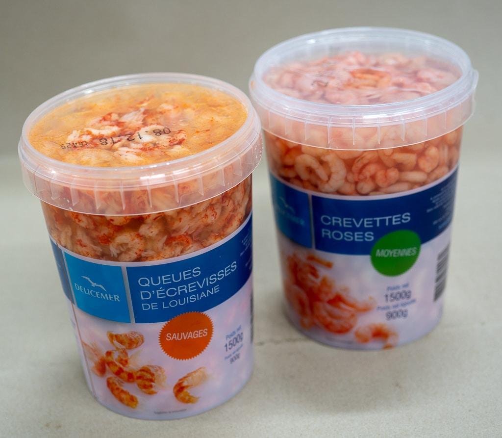 Crevettes roses, queues d'écrevisse